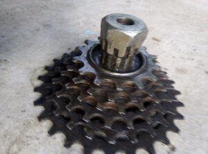 remove the sprocket with a screwdriver