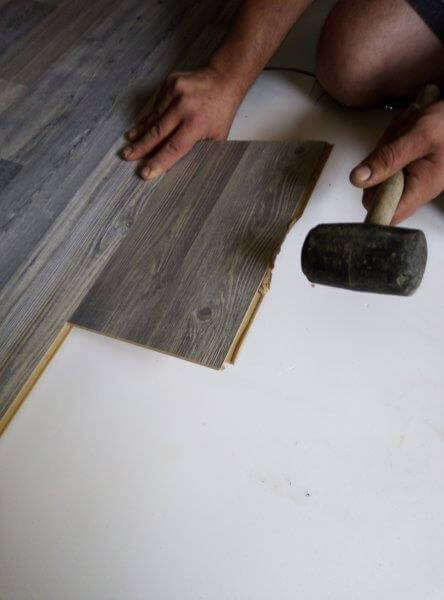 Using a hammer on laminate